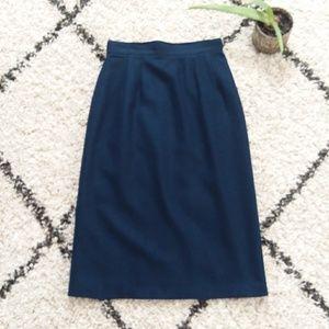 Navy wool pencil skirt